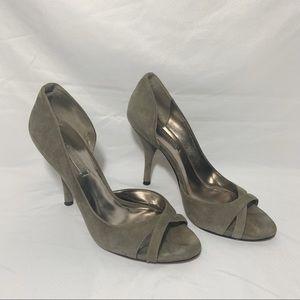 BCBGMaxAzria Gray D'Orsay Suede Heels Size 10